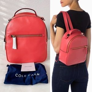 New COLE HAAN Tali Small Leather Backpack Teaberry